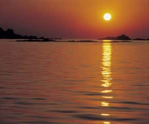 Sun Reflecting on Water at Sunset